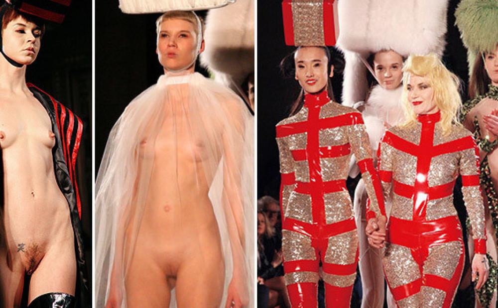 Fashion model shows vagina